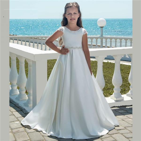 Cheap White Satin Flower Girl Dresses Soft Flower Girl Dresses For Weddings 2018 Vestido De Daminha First Communion Dresses