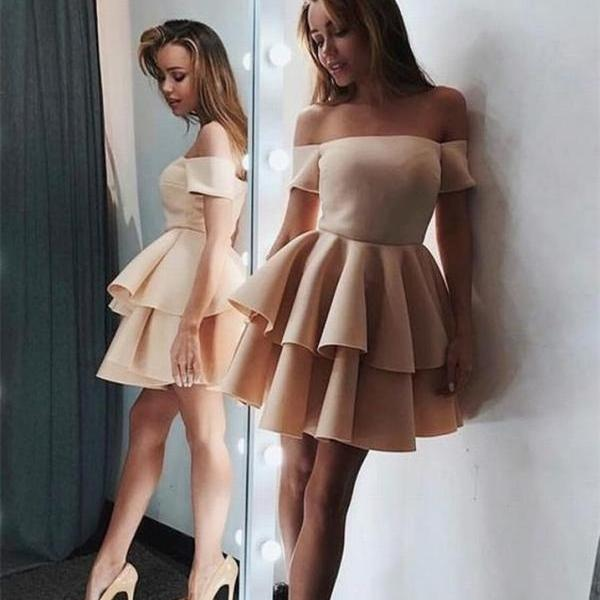 Champagne A Line Prom Stain Homecoming Dress For Teen Off the Shoulder Party Dress
