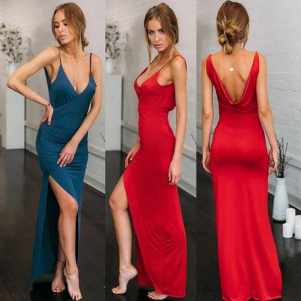 Sexy Red Blue Backless Spaghetti Strap Long Dress Maxi Dress 01