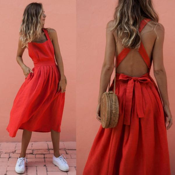 4 Colors Backless Sexy Bow Tie Summer Dress 02