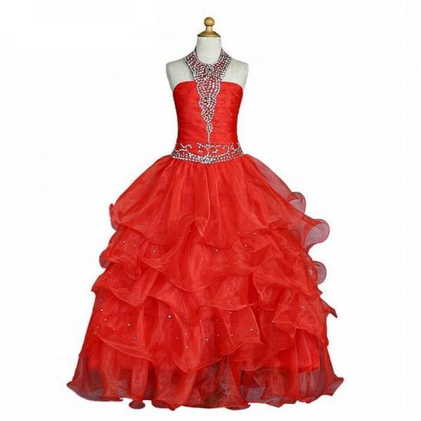 Red Girls Pageant Dresses for Weddings Ball Gown Halter Organza Tiered Beaded Flower Girl Dresses for Little Girls