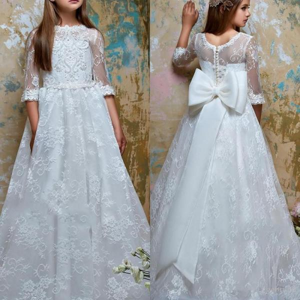 Princess Lace Flower Girls Dresses for Wedding 2019 A Line Sheer Neck Appliques Long Kids Formal Gowns Party Birthday Dress