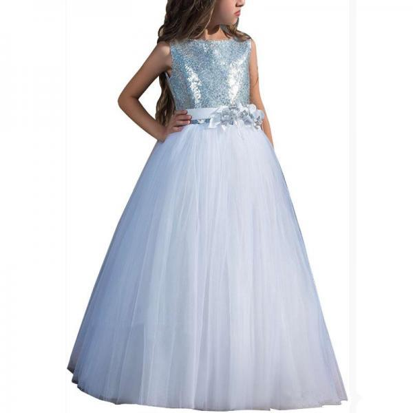 2019 New Flower Girl Dresses Blue Sequins Thin Net Sleeveless Performance Host Girl Pettiskirt Princess Party Dress Cheap
