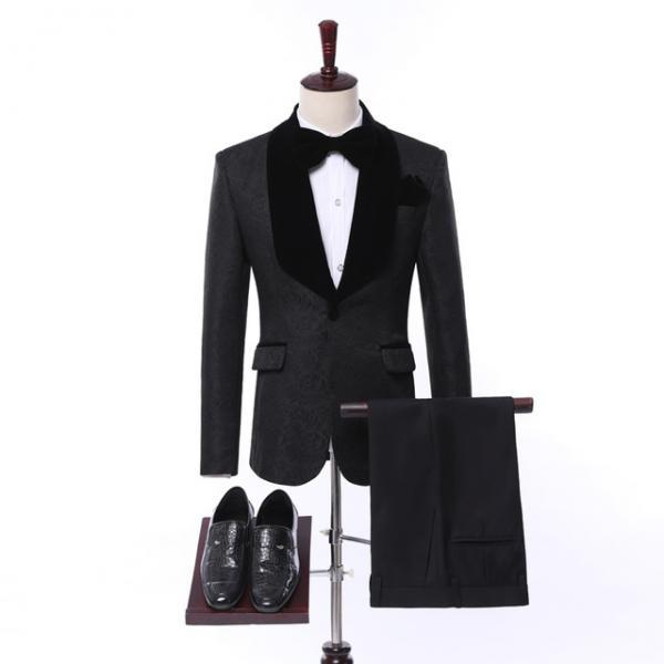 Groomsmen Black Men Suits Groom Tuxedos Shawl Velvet Lapel Men Suits Wedding Best Man Blazer ( Jacket+Pants+Vest )