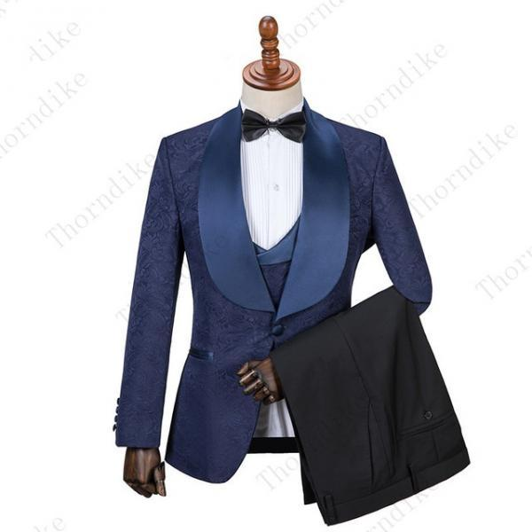 Handsome Mens Formal Tuxedos Suits For Weddings Business One Button Shawl Lapel Best Men Groom Mens Wedding Tuxedos Custom Made