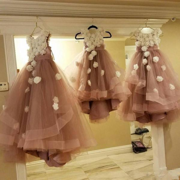 Dusty Rose Flower Girls White 3D Flora Appliques Floor Length Tulle Kid Birthday Pageant Custom Made Party Communion Dresses