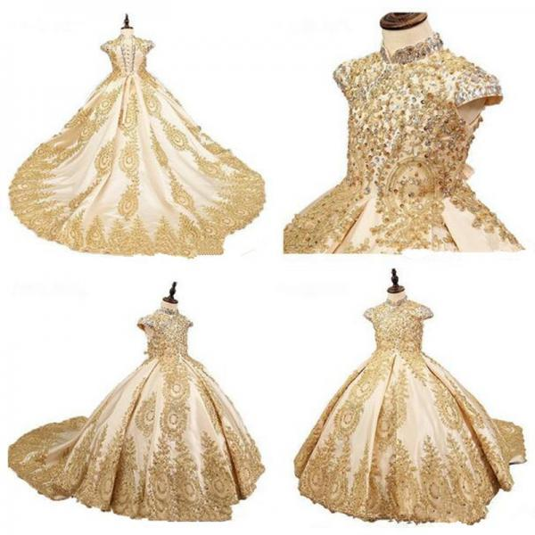 Golden Retro Flower Girl Dresses For Wedding Custom Made New Pageant Dress Sleeveless and Appliques Holy Communion Dresses