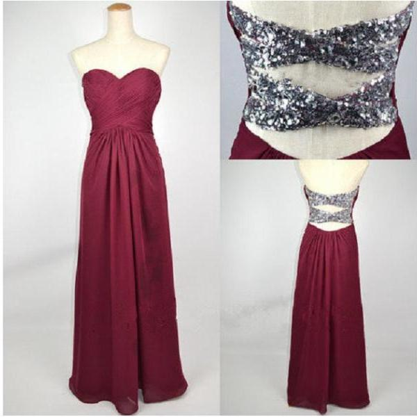 Sequin Backless Chiffon Long Evening Dress Prom Dress Custom Made Bridal Party Dress c101