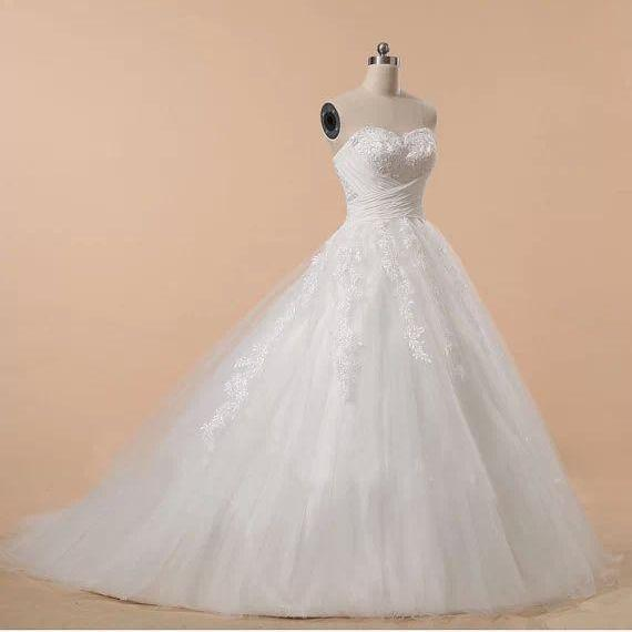 Formal Applique Sweetheart Long Train Ball Gown Lace Bridal Wedding Dresses Formal Floor Length w570a
