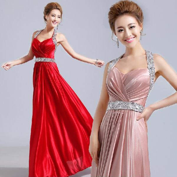 Halter Beading Satin Evening Dress Prom Dress Custom Made Bridal Party Dress w71