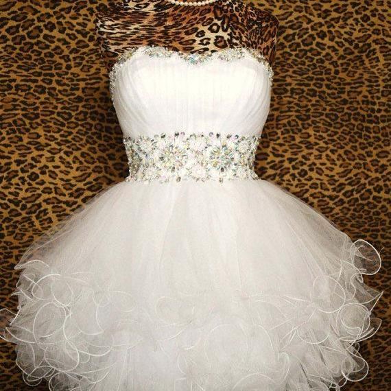 Sweetheart Ball Gown Mini Sexy Crystal Cocktail Dress Evening Dress Prom Dress Custom Made Bridal Party Dress r60