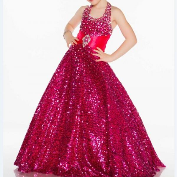 Formal Halter Flower Girl Dresses Long Sequin Lace Ball Gown Kids Wedding Party Dresses 0425-02