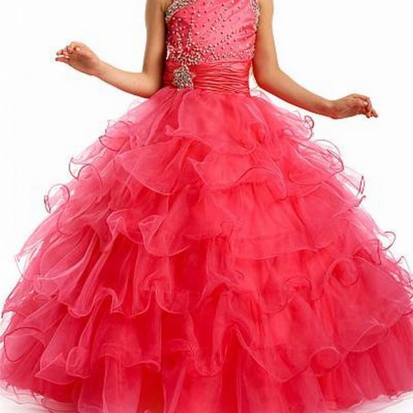 Pageant Kids Dress Flower Girl Dresses Long Tulle Ball Gown Wedding Party Dresses for Girls 0425-47