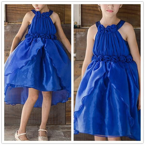Formal Simple Flower Girl Dresses Blue Ruffle Chiffon Ball Gown Kids Wedding Party Dresses 0425-66