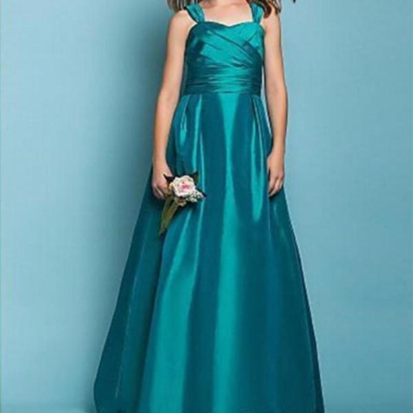 Formal Simple Flower Girl Dresses Long Satin A Line Children Kids Wedding Party Dresses 0425-68
