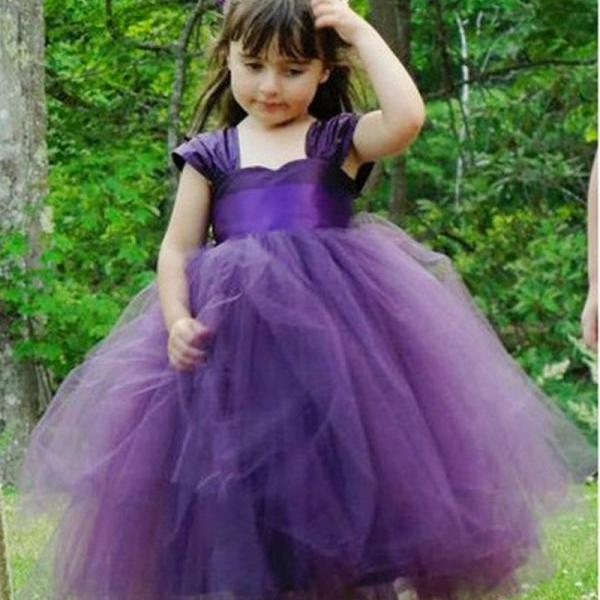 Formal Gown Flower Girl Dresses Long Tulle Ball Gown Kids Wedding Party Dresses 0425-69