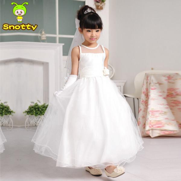 New Fashion Ankle Length Flower Girl Dresses Children Birthday Dress Tulle Kids Wedding Party Dresses WLJ37