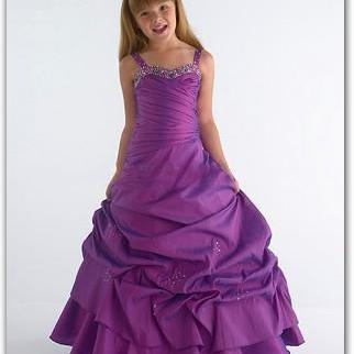 Purple Floor Length Flower Girl Dresses Children Birthday Dress Satin Kids Wedding Party Dresses WLJ47