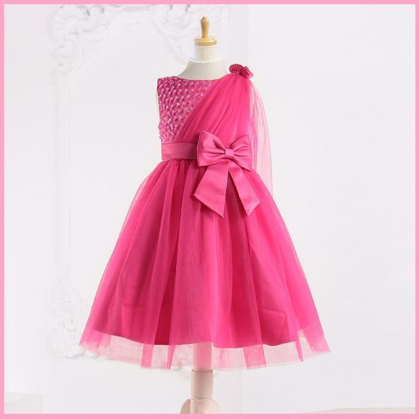 New Fashion Tea Length Flower Girl Dresses Children Birthday Dress Beading Kids Wedding Party Dresses WLJ57