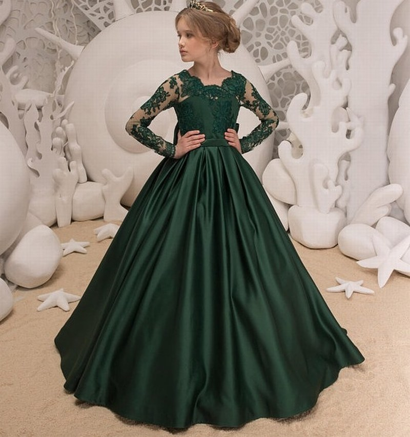 af445a37fae5 Emerald Green Flower Girl Dress - Wedding Holiday Party Bridesmaid Birthday  Flower Girl Emerald Green Tulle Lace Dress xk01 (1)